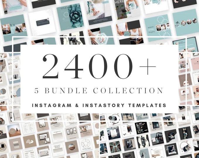 2400+ Instagram Post Bundle with Bonus Instagram Carousel - Canva Templates for Course, eBook Promotion, Engagement, Education