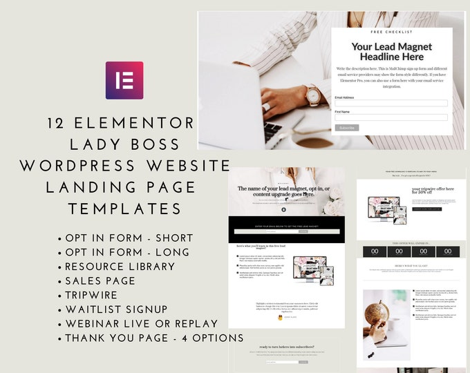 Lady Boss Elementor 12 Landing Page Templates - Elementor Templates | Landing Page for Elementor | WordPress Websites