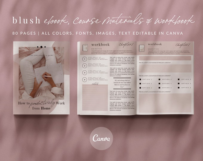 80-Page eBook & Workbook Canva Template for Bloggers, Writers, Coaches - Course Pages, Checklists, Resource Guide, Workbook, Call to Action
