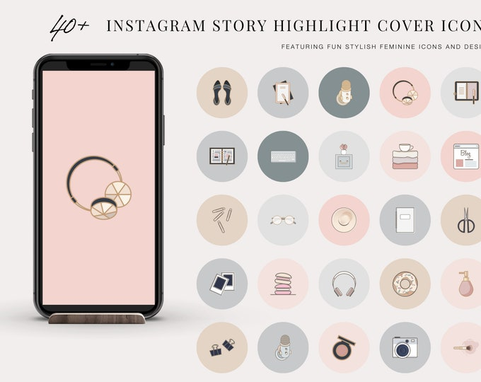 40+ Instagram Story Highlight Cover Icons - STYLISH BOSS Instagram Story Covers - Instagram Stories - Pink, Blue, and Beige