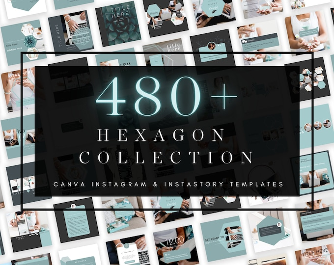 480+ Instagram & InstaStory Templates for Canva - HEXAGON PART 1 - Canva Templates for Course, eBook Promotion, Engagement, Education, Inspo