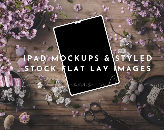 iPad Mockups & Styled Stock Photography - Cake and Purple Flowers Styled Photography Images and Mockups, PSD iPad Template, Smart Objects