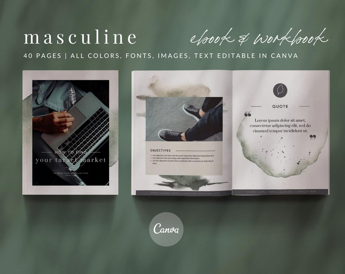 40-Page Masculine Woodsy eBook & Workbook Canva Template Design Plus Bonus 10 Pinterest and 10 Instagram Matching Canva Templates
