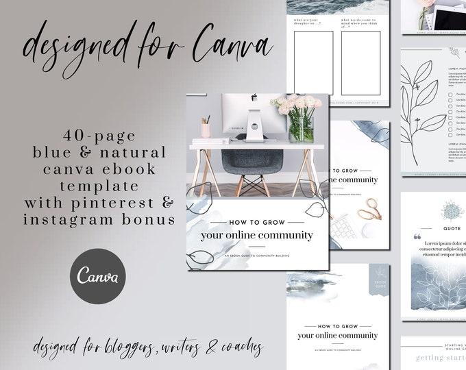 40-Page eBook & Workbook Canva Template Plus Bonus 10 Pinterest and 10 Instagram Matching Canva Templates
