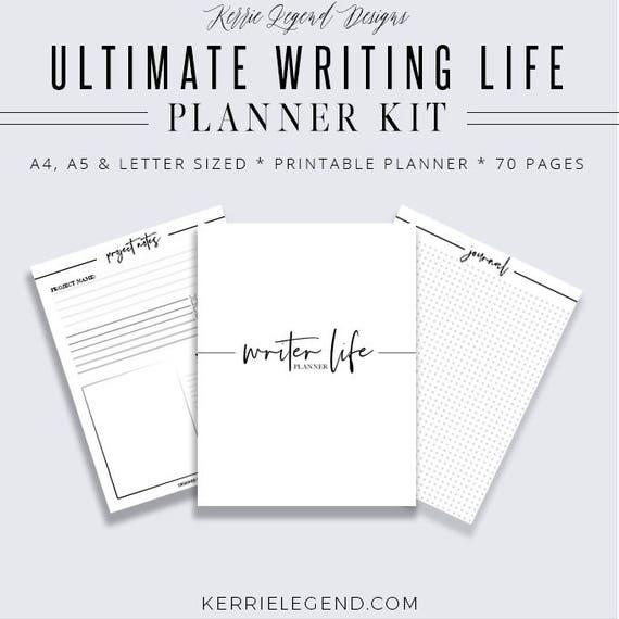 Ultimate Writing Life Binder, Writer Planner, Blog Planner, Writing Binder, Author Kit, Printable Planner, Planner Inserts, Digital Planner