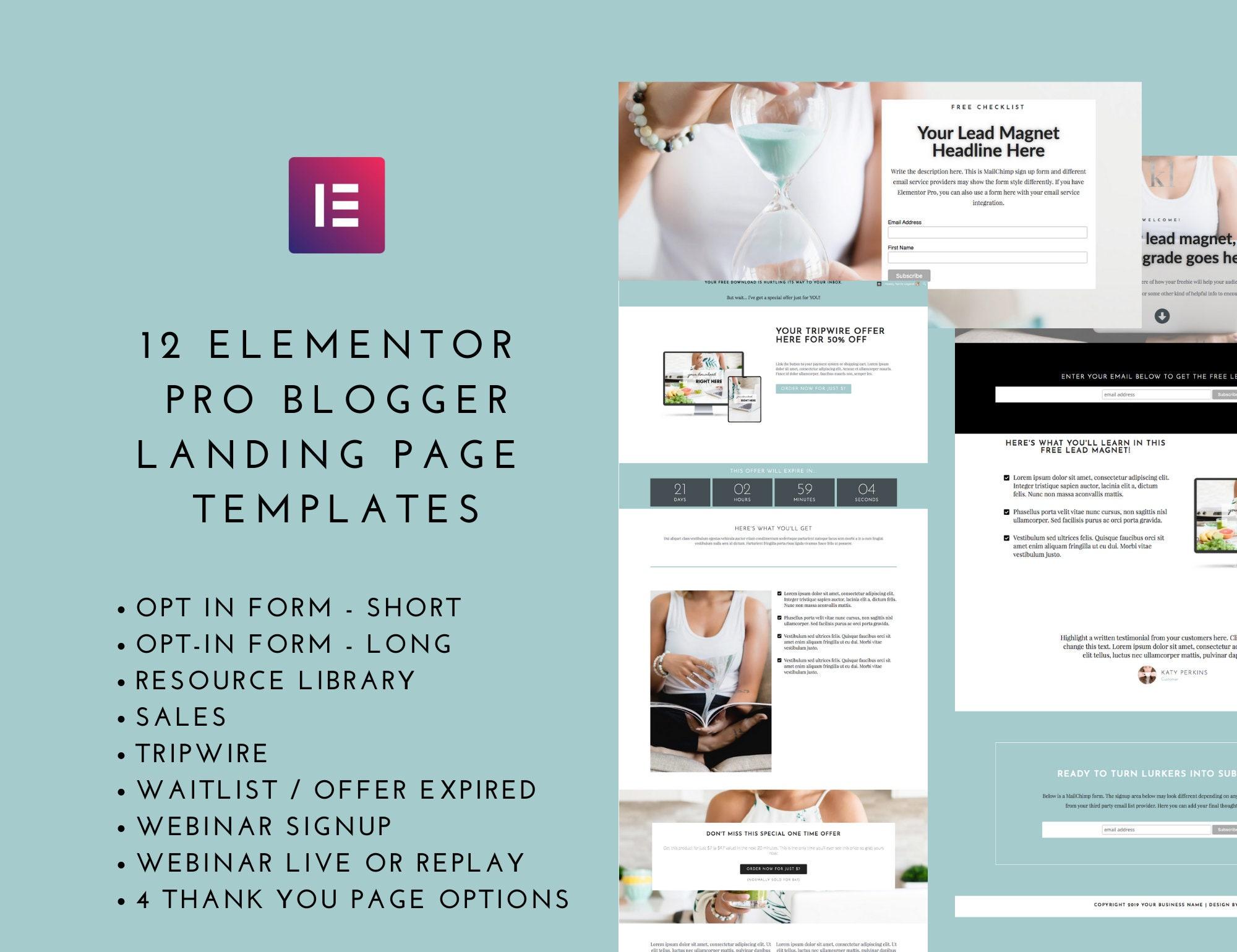 Landing Page Template Elementor Bundle - Pro Blogger Set