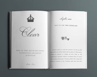 Clear Book Interior Design Template - 35+ Pages - 5 Chapter Design Options - Fonts Included