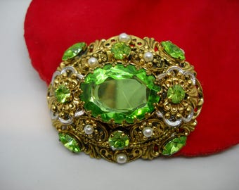 Brooch West Germany brand - Green stones on filigree- 1940
