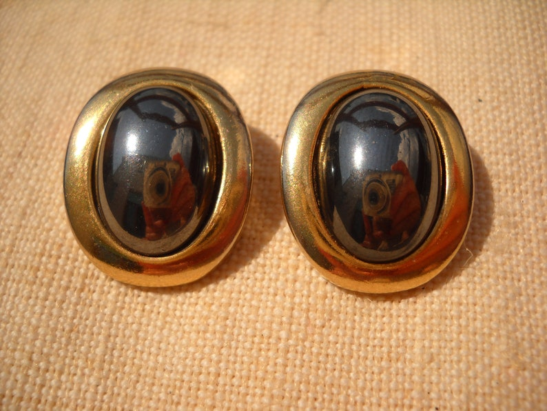Made in Italy 60/'s Gold filled and hematite earrings