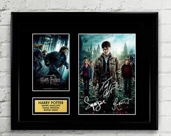 Harry Potter - Cast Autograph Signed Poster Art Print Artwork Reprint - JK Rowling, Daniel Radcliffe, Emma Watson, Rupert Grint, Hogswarts
