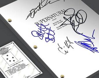 Supernatural TV Show Pilot Script Screenplay Signed Autograph Reprint - Jensen Ackles, Jared Padalecki, Samantha Smith