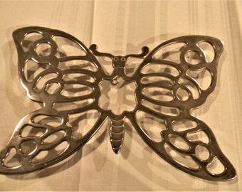 Beautiful Butterfly Silverplate Trivet by Leonard