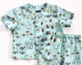 Boys Pajama Shorts Set - Cotton - Toddler - Counting Under the Sea - Aqua Blue