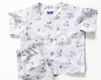 Cotton Pajama Shorts Set - Boys - Toddler - Bears on Safari - White