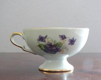 Vintage Leneige Violets Footed Cup