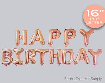 """Rose Gold Happy Birthday Letters balloon   16"""", party, B034"""