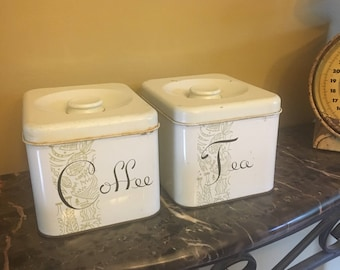 Vintage Coffee and Tea Metal Canisters
