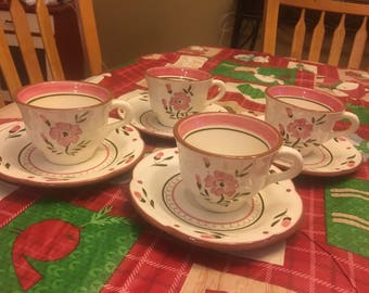 Set of 4 Stangl Pottery Teacups - Mugs with Saucers