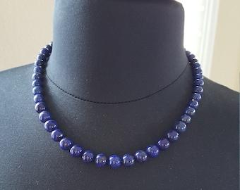 "19.5"" Lapis Lazuli Necklace | Genuine Lapis Necklace | AAA Grade Lapis | Graduating Lapis | Statement Necklace | 925 Sterling"