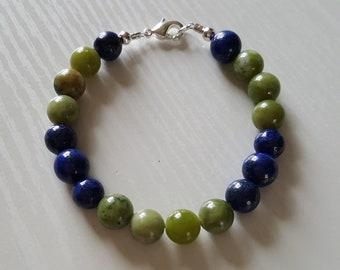 8 mm Natural Lapis & Jade Bracelet w/925 Sterling