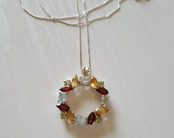 Garnet Citrine Peridot Blue Topaz Pendant Necklace | Genuine Gemstone Necklace | 925 Sterling