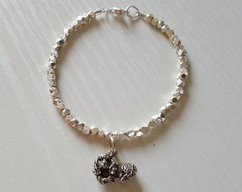 Cavalier King Charles Charm Bracelet   Cavalier Bracelet   Cavalier Jewelry   Hill Tribe Silver   925 Sterling   Minimalist Dainty Delicate