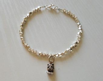 Westie Dog Charm Bracelet   Westie Jewelry   Hill Tribe Silver   925 Sterling   Minimalist   Dainty Delicate
