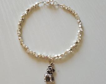 Yorkie Dog Charm Bracelet   Yorkie Jewelry   Hill Tribe Silver   925 Sterling   Minimalist   Dainty Delicate   Gift For Her