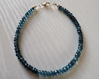 AAA+ London Blue Topaz Bracelet   Faceted/Rondelle   925 Sterling, 14K Gold Filled   Gift For Her, Him   November Birthstone   Gift Boxed