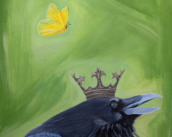 Raven in a Crown with a Butterfly, Fine Art Giclee Print by Lauren White