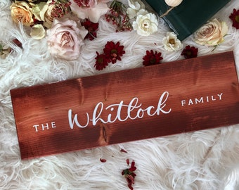 Wood Sign with Custom Calligraphy of Family Name