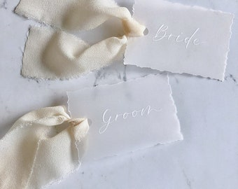 Hand-torn Vellum Place Cards / Gift Tags with Chiffon / Silk Ribbon