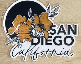San Diego California Clear Vinyl Sticker