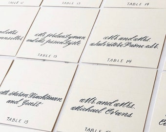 Place Cards / Escort Cards with Custom Calligraphy - Classic Style