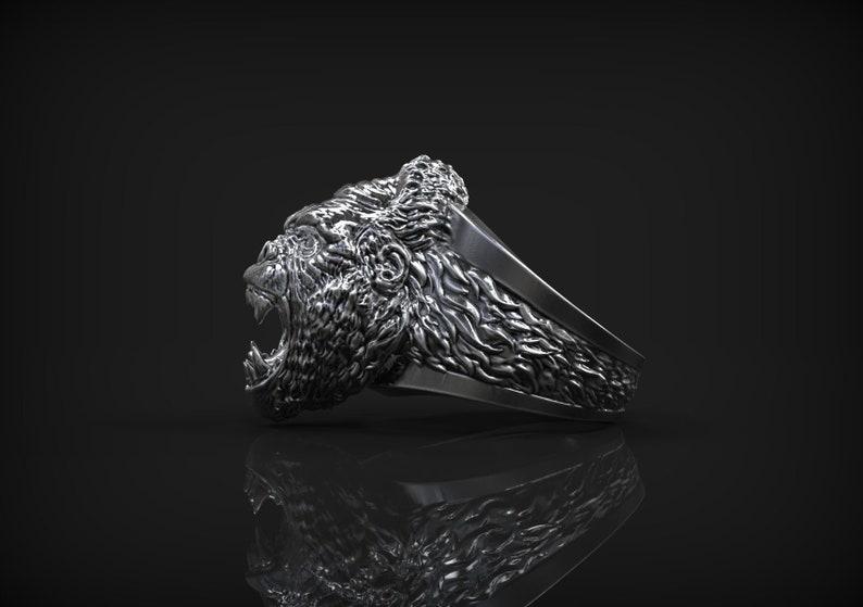 King Kong Gorilla Ring *10k/14k/18k White, Yellow, Rose, Green Gold, Gold  Plating & Silver* Animal Biker Gothic Punk Men's Ring Thumb Gift