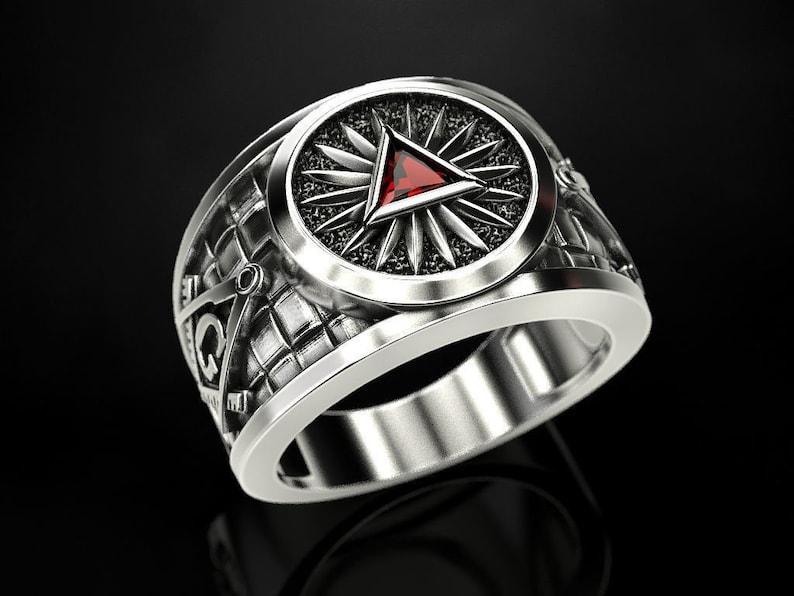 Grand Master Masonic Ring *10k/14k/18k White, Yellow, Rose, Green Gold,  Gold Plating & Silver* Stonemason Freemason Religion Men Thumb Gift