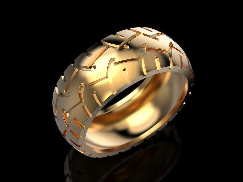 Hit The Road Tire Ring *10k/14k/18k White, Yellow, Rose, Green Gold, Gold  Plating & Silver* Car Truck Wheel Motorcycle Mechanic Biker Gift