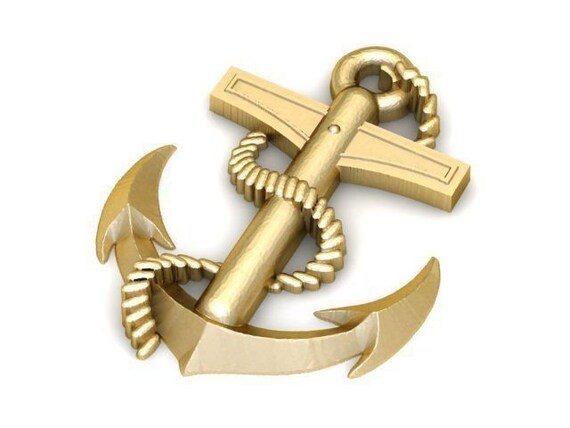 Silver Yellow Plated Anchor With Rope 3-D Charm 41mm