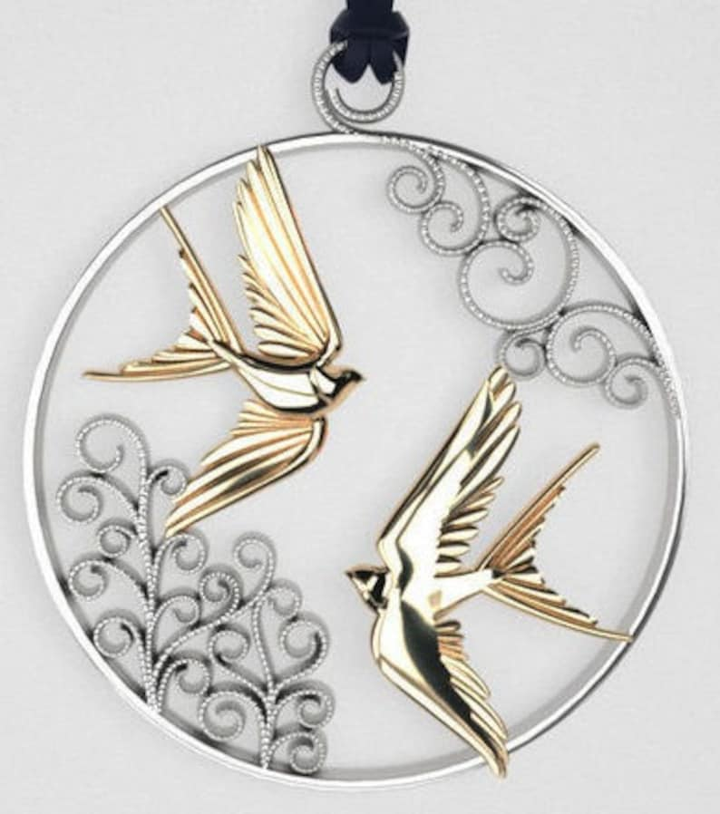 Green Gold Gold Plating /& Silver* Animal Wing Nature Leaf Heart Charm Necklace Gift Rose Yellow Love Birds Pendant *10k14k18k White