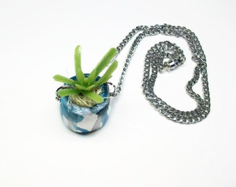 Plant pot necklace, pot necklace, succulent necklace, chain necklace, flower necklace, plant necklace