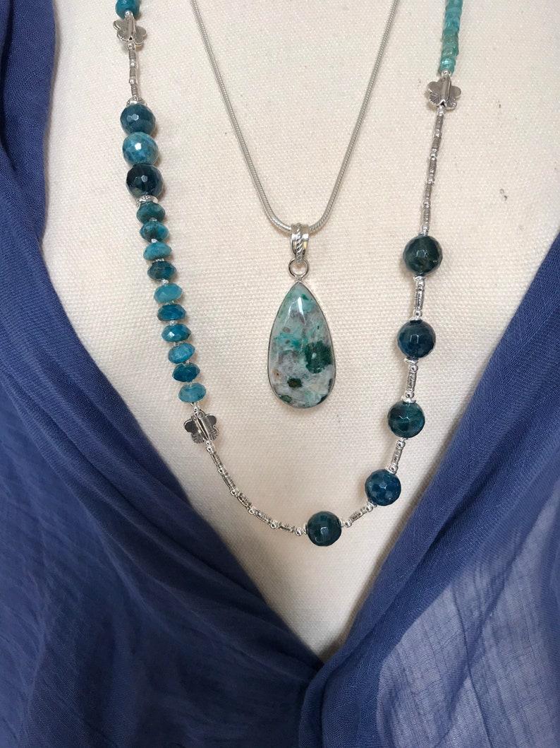 high grade gemstone P333 Stunning Chrysocolla pendant bezel set in sterling silver chrysocolla jewellery