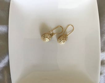 Gold seashell earrings, dangle earrings