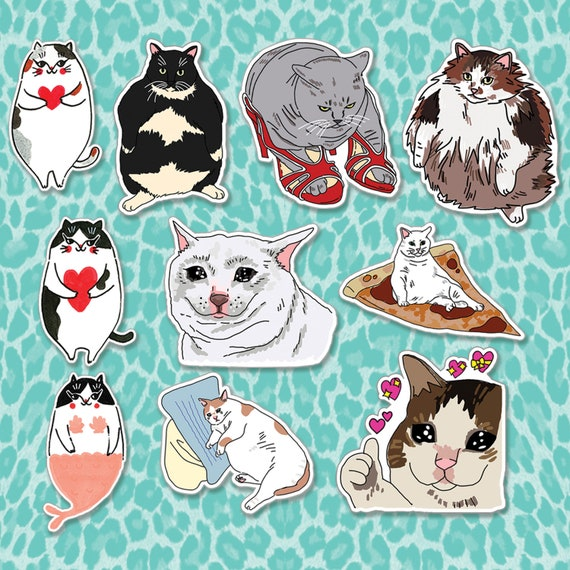 Cat Meme Sticker Pack Cat Lover Sticker Fat Cat Stickers Etsy
