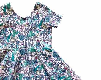 b1f1f5a308b Summer Twirl Dress   Cactus Dress   Succulent Twirl Dress   Toddler Twirl  Dress   Girl Twirl Dress   Sundress   Birthday Dress