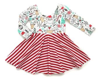 Christmas Twirl Dress, Santa Dress, Winter Twirl Dress, Toddler Twirl Dress, Girl Twirl Dress, Baby Twirl Dress, Holiday Dress