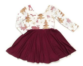 christmas twirl dress winter dress maroon twirl dress toddler twirl dress girl twirl dress baby twirl dress holiday dress
