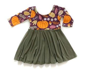 Pumpkin Twirl Dress, Pumpkin Dress, Plum Dress, Toddler Dress, Girl Dress, Baby Dress, Fall Dress, Thanksgiving Dress, Holiday Dress