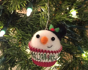 needle felted cupcake snowman ornament