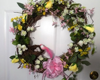 Wreath with bird and nest