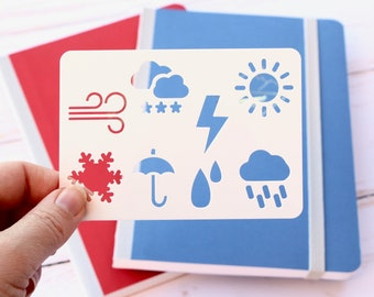 Mini weather icon stencil for Bullet journal and planner, Daily weather stencil, Everyday planner stencil